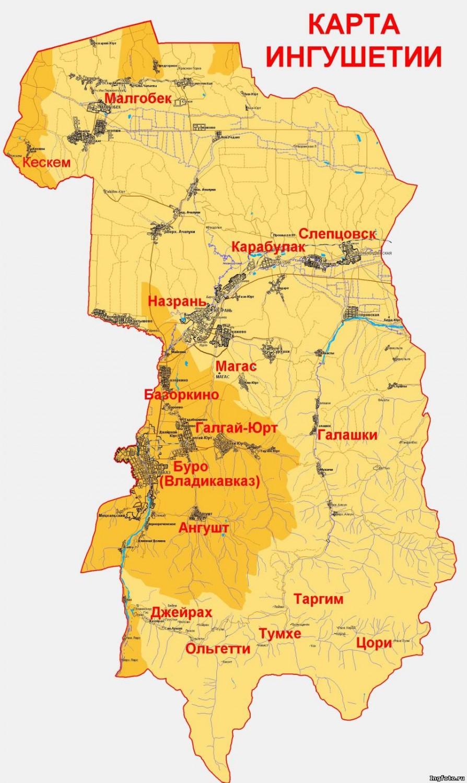 Карта Ингушетии до 1944 г.
